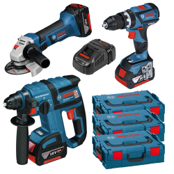 KIT BOSCH MARTILLO + TALADRO + AMOLADORA 18V 4AH (3BAT)