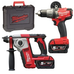 PACK MILWAUKEE 18V: TALADRO M18 FPD + MARTILLO M18 BH