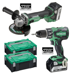 PACK HITACHI BRUSHLESS: TALADRO + AMOLADORA
