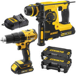 PACK DEWALT 18V: ATORNILLADOR BRUSHLESS + MARTILLO SDS-PLUS