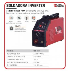 SOLDADURA INVERTER METAL WORKS TEC 140