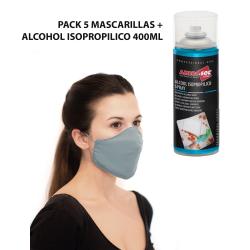 PACK 5 MÁSCARILLAS PROTECTORAS REUTILIZABLES + LIMPIADOR